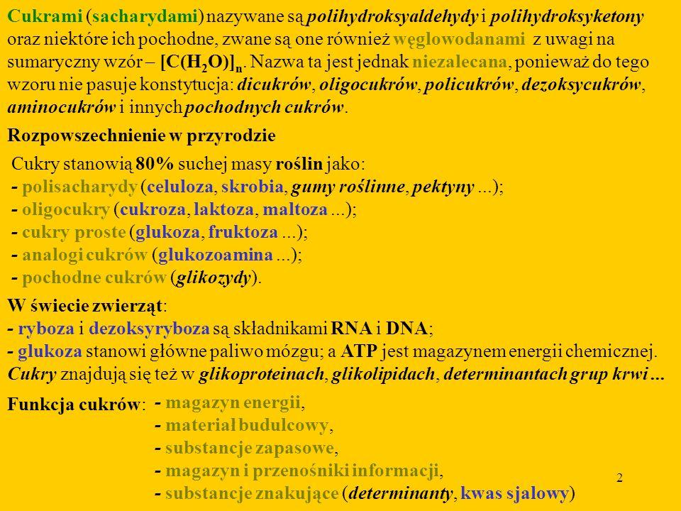 Cukrami (sacharydami) nazywane są polihydroksyaldehydy i polihydroksyketony oraz niektóre ich pochodne, zwane są one również węglowodanami z uwagi na sumaryczny wzór – [C(H2O)]n. Nazwa ta jest jednak niezalecana, ponieważ do tego wzoru nie pasuje konstytucja: dicukrów, oligocukrów, policukrów, dezoksycukrów, aminocukrów i innych pochodnych cukrów.
